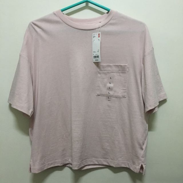 Uniqlo 短版圓領T恤 短袖 石英粉