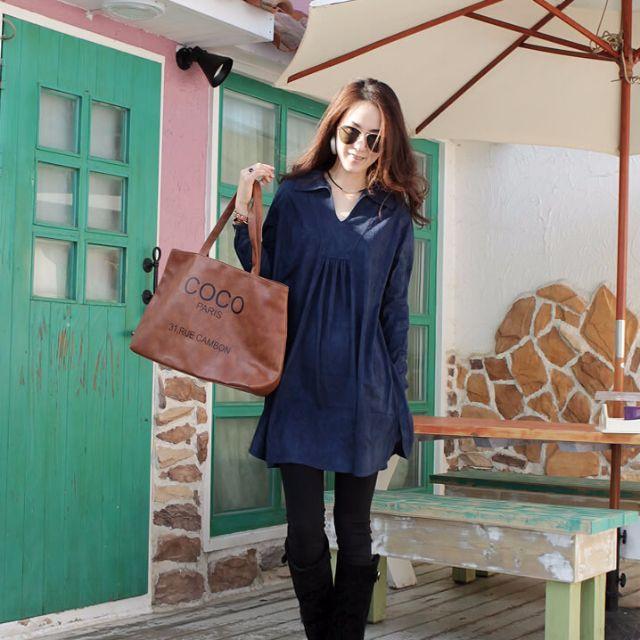 V領寬鬆顯瘦連衣裙(2色)