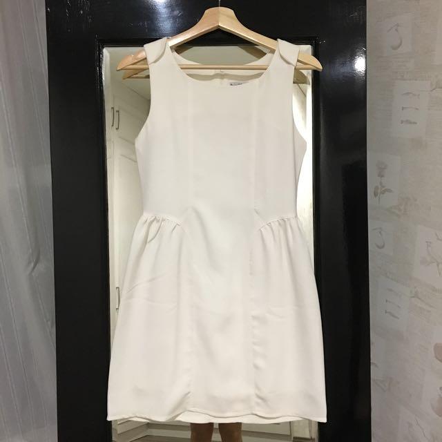 White Mesh Panel Dress