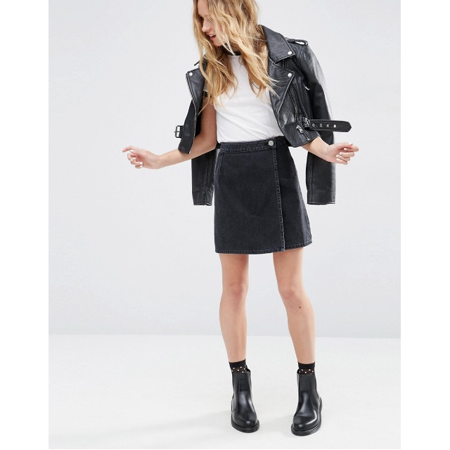 Wrap A-line Skirt in Washed Black