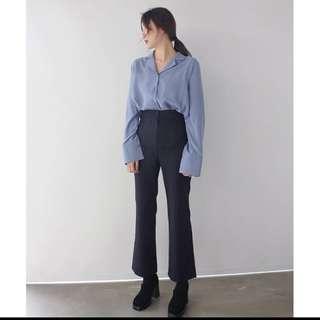 藍色 西裝領襯衫