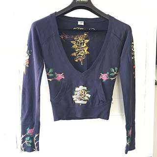 Ed Hardy | XS Navy Printed Top