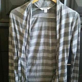 Gray Striped Cardigan