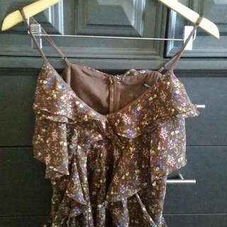 Brown Flower Pattern Tank (Small)