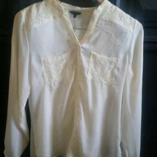 Cream Blouse With Lace (Small)