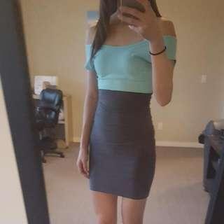 Turquoise & Grey American Apparel Dress