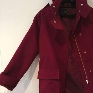 ASOS Petite Red Duffle Coat Jacket Gold