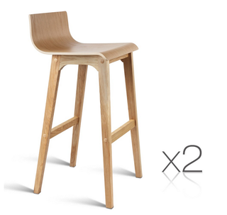 New Set of 2 Natural Oak Wood Home Dining Kitchen Chair Wooden Bar Seat Stools