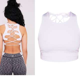 White Lace Up Crop