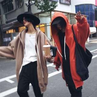『SecondSkin內刷毛oversize連帽外套。橘紅色現貨一件』