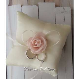 Handmade Ivory satin ring pillow with Peach Rose & Ivory Ribbon (ROM/Wedding) READY MADE