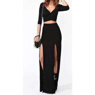BRAND NEW Black High Waisted Double Split Maxi Skirt