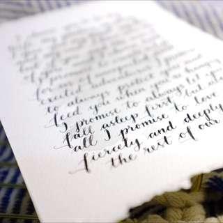 Custom Wedding Vow - Calligraphy