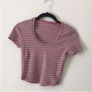 American Apparel, Red, White & Blue Ribbed Crop T-shirt