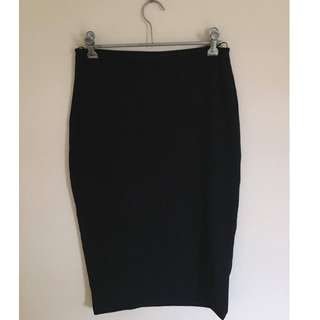 Backstage Black Stretch Pencil Skirt