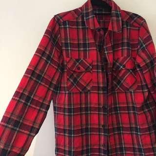 ASOS Tartan Flannel Shirt Red Black Size XS