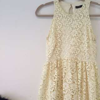 ZARA Basic Floral Lace Dress in Light Yellow