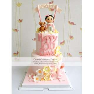 【Connie's Home Sweets】Baby Girl Birthday Cake 100 days cake 生日蛋糕 百日宴蛋糕 滿月