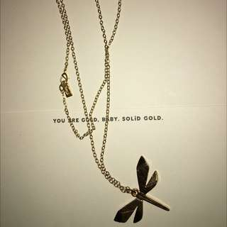Gold Dragonfly Long Necklace