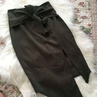 Khaki Split Tie Skirt