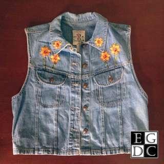 Denim Embroidered Vest
