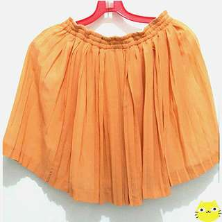 Orange Chiffon Flare Skirt