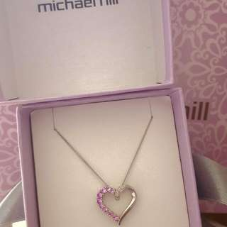 Michael Hill Sterling Silver Pendant With Created Sapphire And Diamonds RRP $239