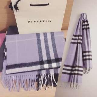Burberry淺紫色Cashmere頸巾