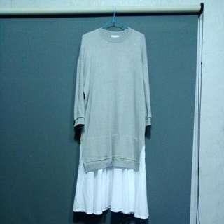 下襬開衩荷葉拼接長版衛衣洋裝