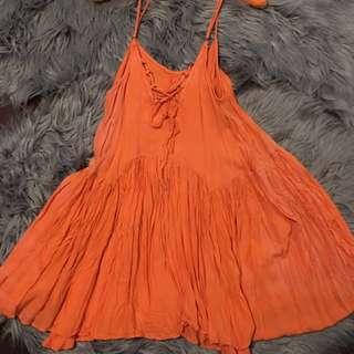 Tie Up Orange Dress
