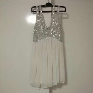 Silver And White Flowy Dress