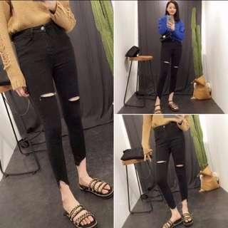 Black High-Waist Ripped Jeans
