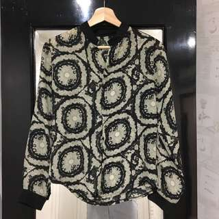 Black Abstract Chiffon Blouse