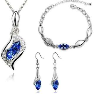New Fashion 18k Silver Plated Colorful Austrian Crystal Drop Jewelry Sets Women Gift