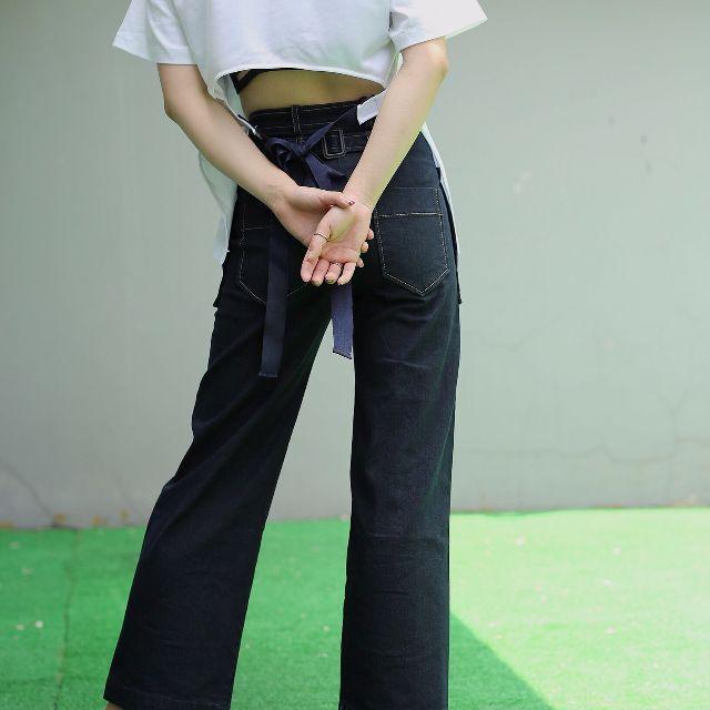6CH!C STUDIO /獨家定制LOW*CLASSIC牛仔闊腿褲壓線高腰直筒褲