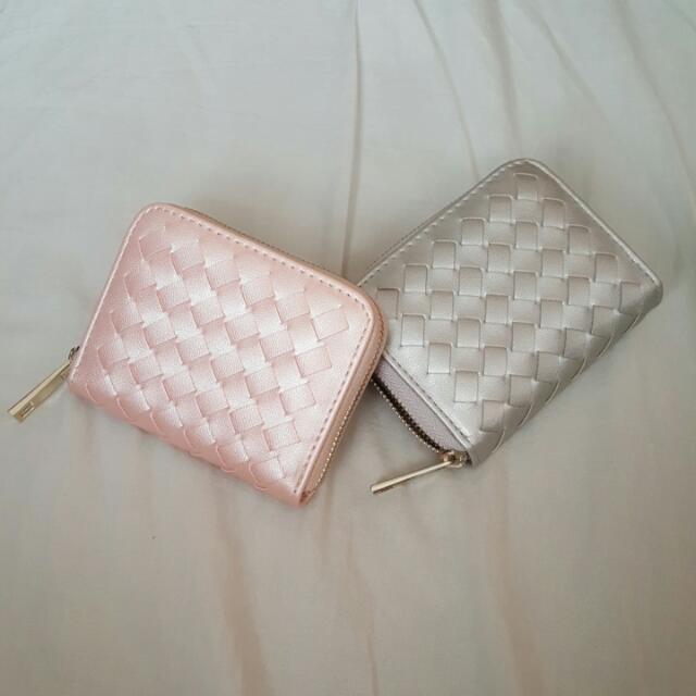 全新珠光銀色/粉色小零錢包(可放卡)