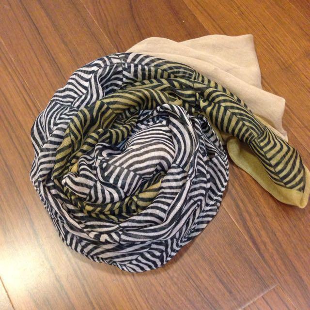 復古條紋絲巾