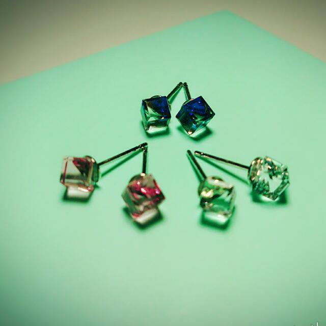 四角 方塊 鑽石(透明/粉/藍)