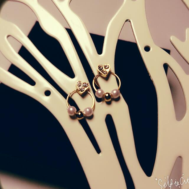 典雅 愛心 鑲鑽 小珍珠 耳環