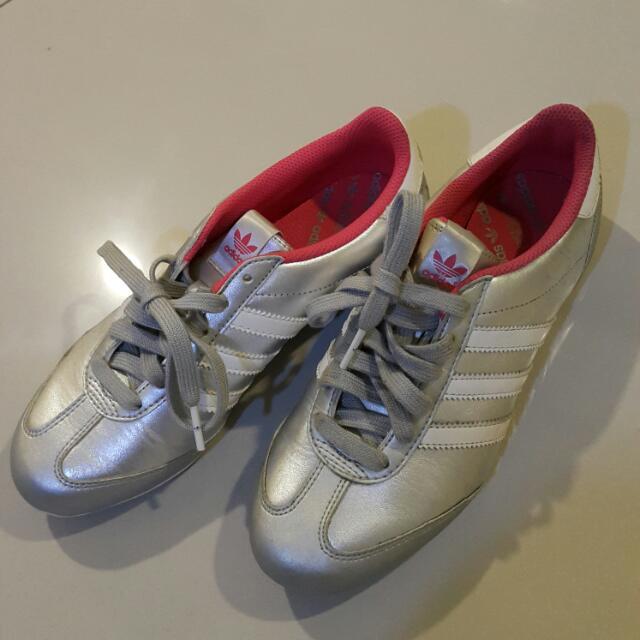 愛迪達 adidas 球鞋 運動鞋 女鞋 慢跑鞋 銀配白 阿甘鞋