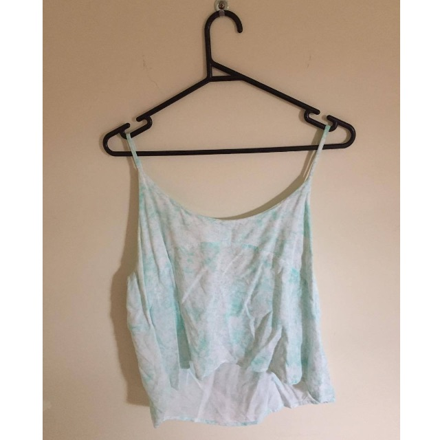 All About Eve Turquoise Shoe String Top