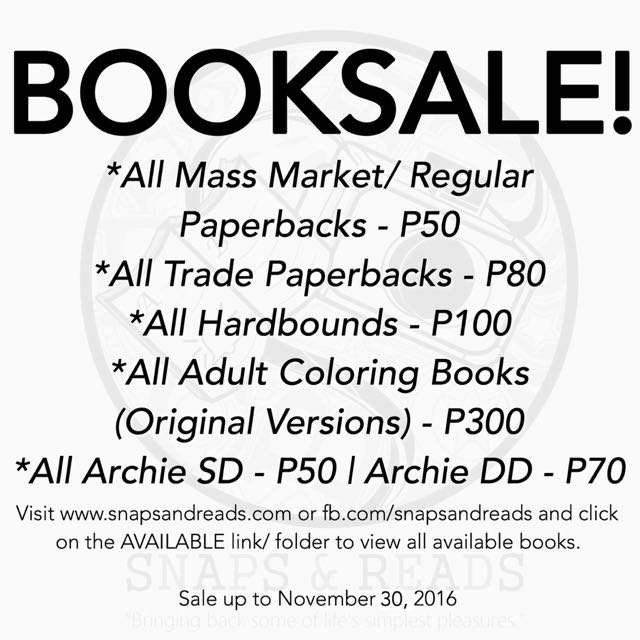 Book Sale At Snaps And Reads Until Nov. 30!