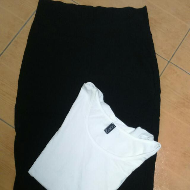 Charlotte Russe Black Pencil Skirt With White Button Down Shirt