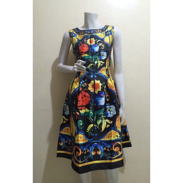 D&G inspired boatneck majolica dress in black