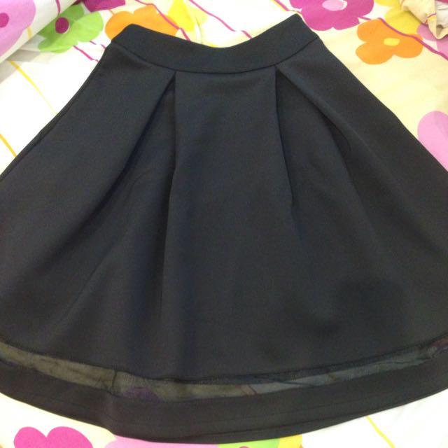 Elegant Black Knee Length Skirt