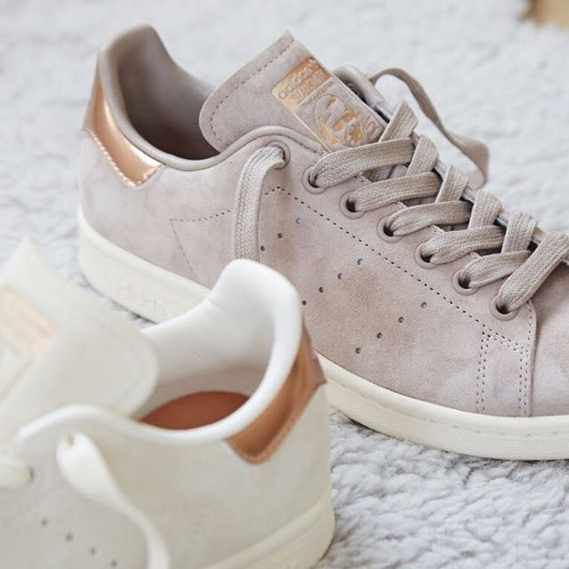 nuovo] adidas stan smith bianco grigio oro, di moda femminile, le scarpe