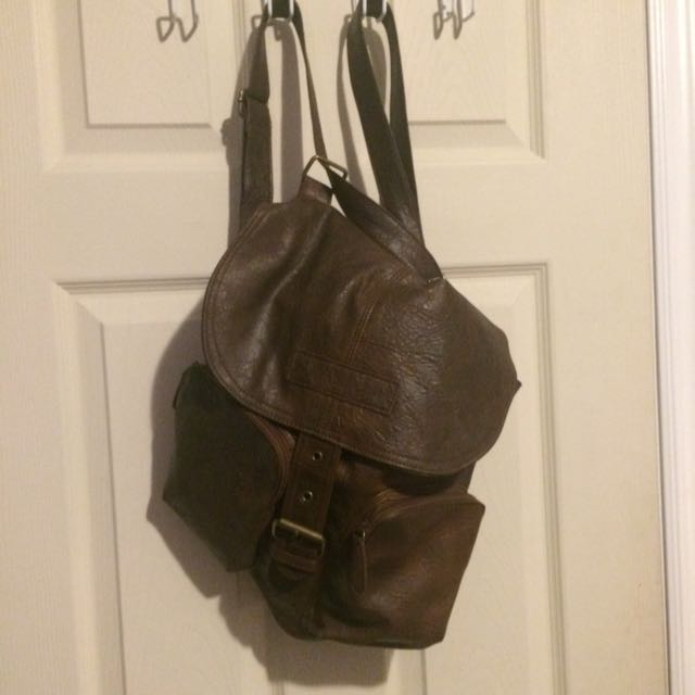 Faux Leather Backpack/Satchel