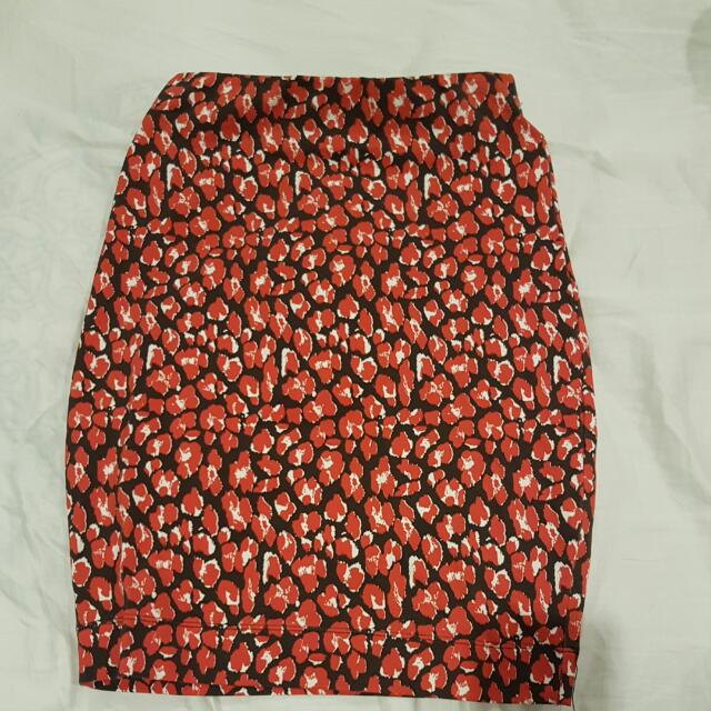 French Connection Red Leopard Skirt
