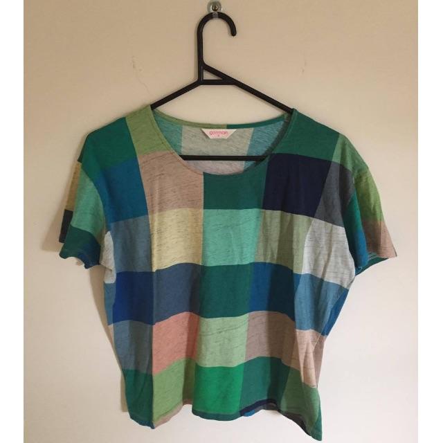 Gorman Green & Blue Schemed Large Checkered T-shirt