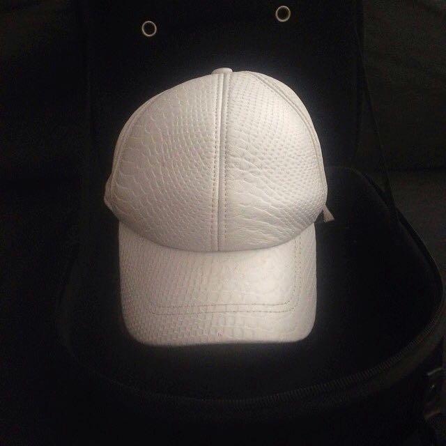 Kookai White Pleather Snake Skin Hat